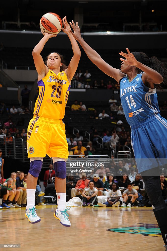 Kristi Toliver #20 of the Los Angeles Sparks attempts a shot during a game against the Minnesota Lynx at Staples Center on September 12, 2013 in Los Angeles, California.