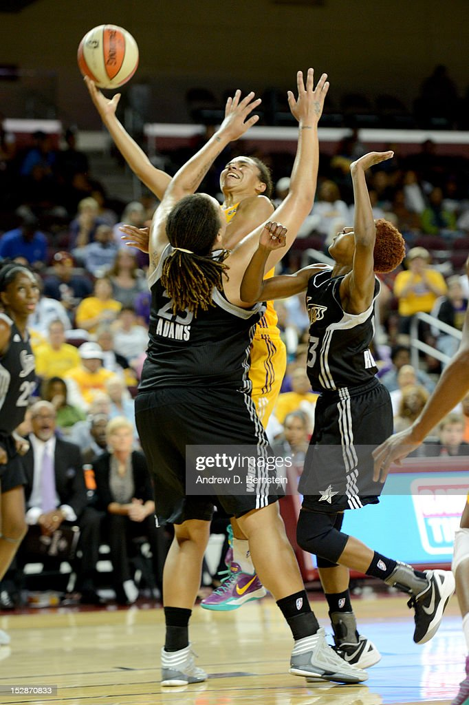 Kristi Toliver #20 of the Los Angeles Sparks attempts a shot during Game 1 of the WNBA Western Conference Semi Finals against the San Antonio Stars at Galen Center on September 27, 2012 in Los Angeles, California.
