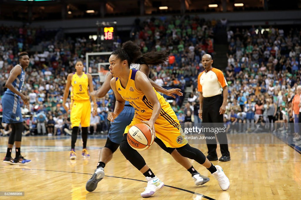 Kristi Toliver #20 of the Los Angeles Sparks drives to the basket during the game against the Minnesota Lynx during the WNBA game on June 24, 2016 at Target Center in Minneapolis, Minnesota.