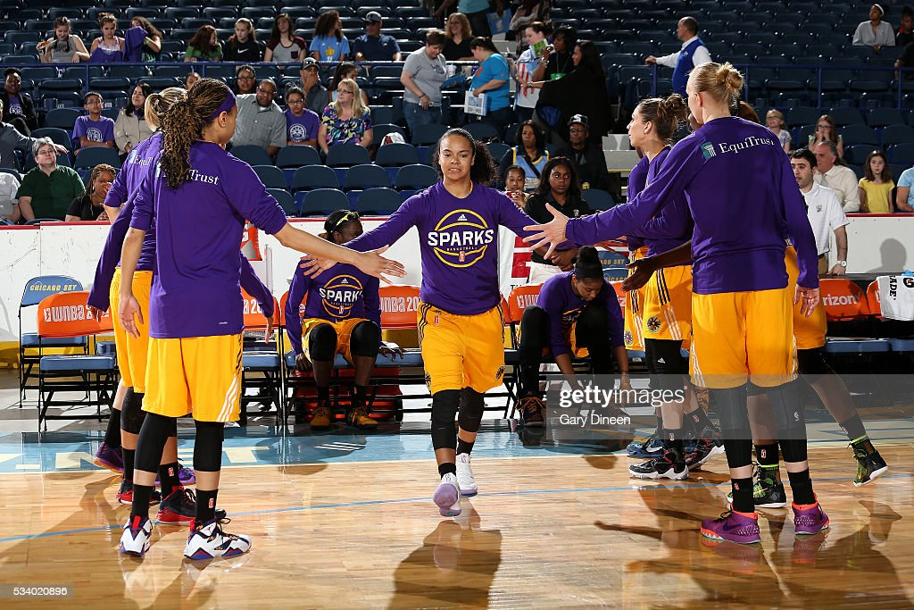 Kristi Toliver #20 of the Los Angeles Sparks gets introduced before the game against the Chicago Sky on May 24, 2016 at the Allstate Arena in Chicago, Illinois.