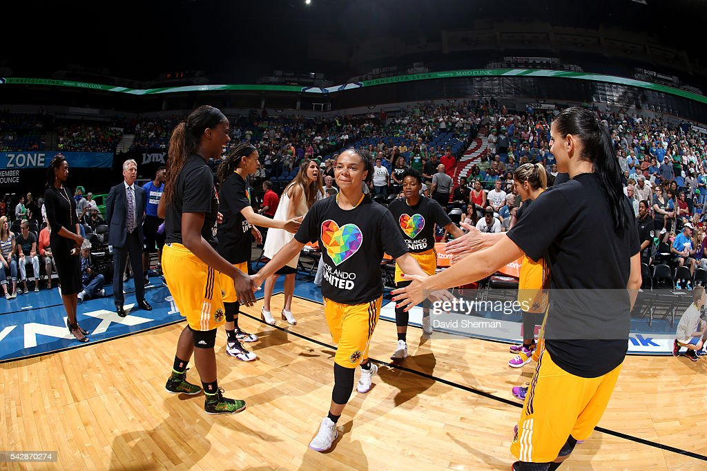 Kristi Toliver #20 of the Los Angeles Sparks gets introduced before the game against the Minnesota Lynx during the WNBA game on June 24, 2016 at Target Center in Minneapolis, Minnesota.