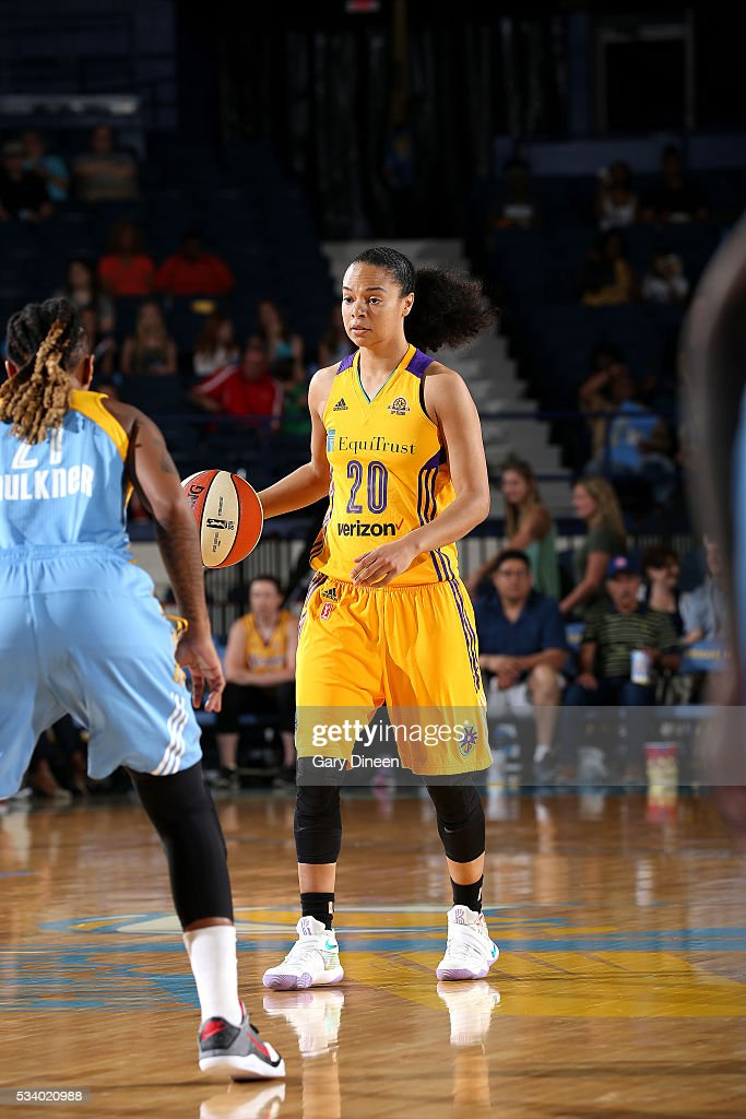 Kristi Toliver #20 of the Los Angeles Sparks handles the ball during the game against the Chicago Sky on May 24, 2016 at the Allstate Arena in Chicago, Illinois.