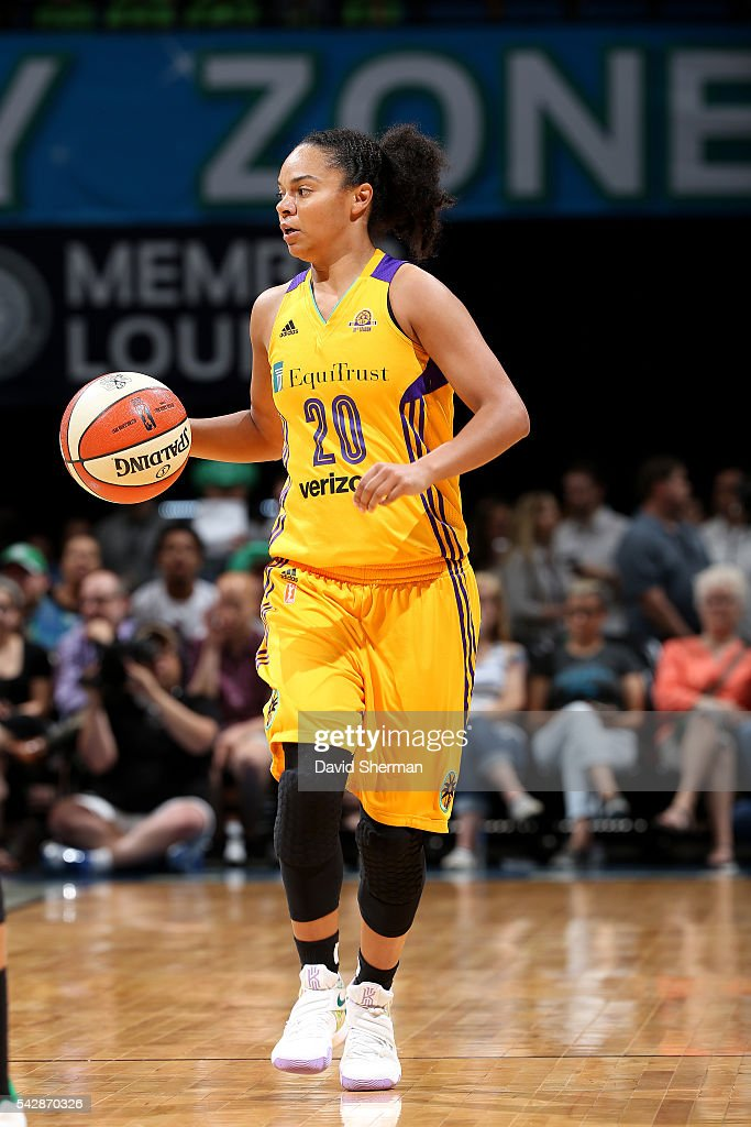 Kristi Toliver #20 of the Los Angeles Sparks handles the ball during the game against the Minnesota Lynx during the WNBA game on June 24, 2016 at Target Center in Minneapolis, Minnesota.