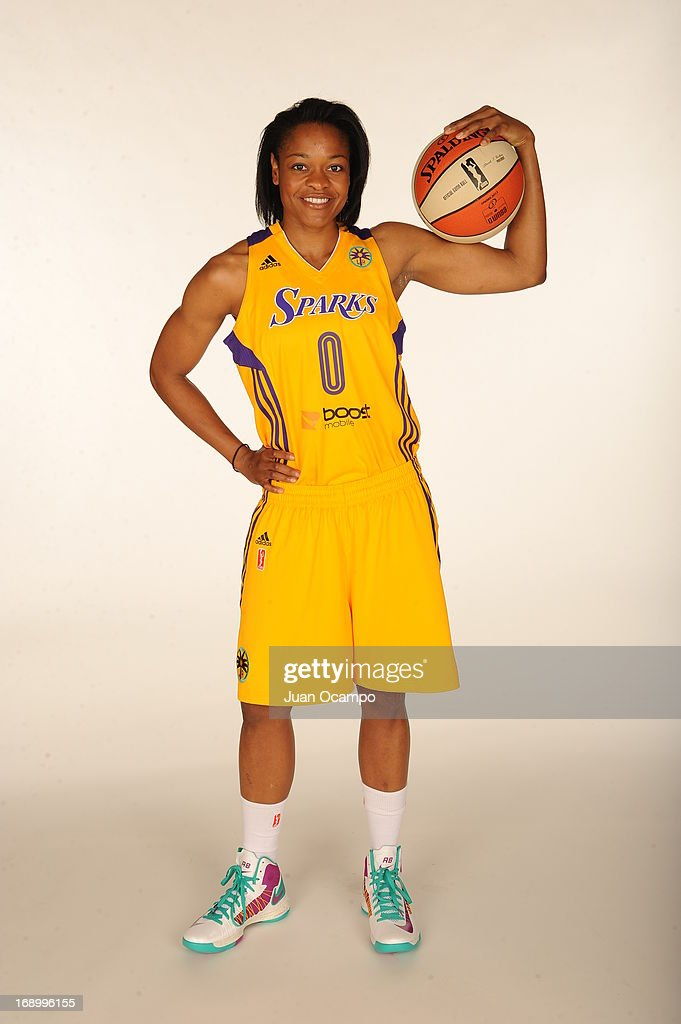 Kristi Toliver #20 of the Los Angeles Sparks poses for a headshot during the Los Angeles Sparks Media Day on May 17, 2013 at St. Mary's School in Inglewood, California.