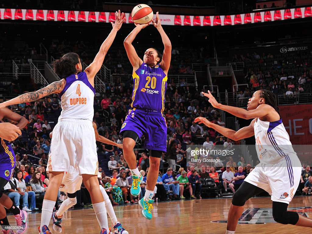 Kristi Toliver #20 of the Los Angeles Sparks shoots the ball against the Phoenix Mercury on September 11, 2015 at the US Airways Center in Phoenix, Arizona.