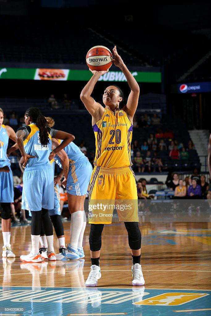 Kristi Toliver #20 of the Los Angeles Sparks shoots the ball during the game against the Chicago Sky on May 24, 2016 at the Allstate Arena in Chicago, Illinois.