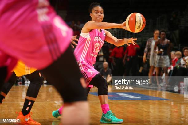 Kristi Toliver of the Washington Mystics passes the ball against the Los Angeles Sparks on August 16 2017 at the Verizon Center in Washington DC NOTE...