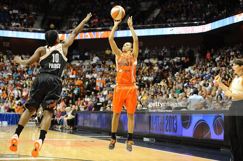 Kristi Toliver #20 of the Western Conference All-Stars shoots against Epiphanny Prince #10 of the Eastern Conference All-Stars during the 2013 Boost Mobile WNBA All-Star Game on July 27, 2013 at Mohegan Sun Arena in Uncasville, Connecticut.