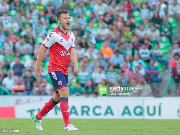 Kristian Alvarez of Veracruz reacts during the 4th round match between Santos Laguna and Veracruz as part of the Torneo Apertura 2017 Liga MX on...