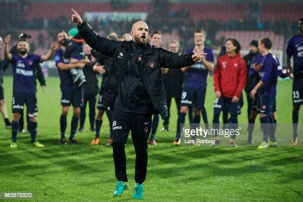 Kristian Bach Bak assistant coach of FC Midtjylland celebrates after the Danish Alka Superliga match between FC Midtjylland and AC Horsens at MCH...