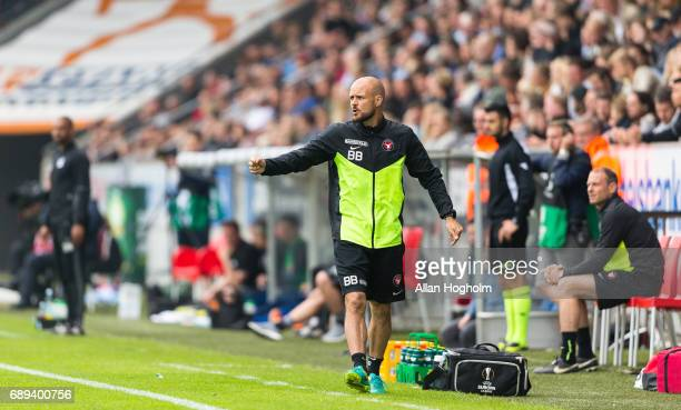 Kristian Bach Bak assistant coach of FC Midtjylland in action during the Danish Alka Superliga match between FC Midtjylland and Lyngby BK at MCH...
