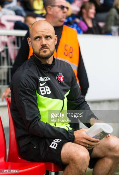 Kristian Bach Bak assistant coach of FC Midtjylland looks dejected after the Danish Alka Superliga match between FC Midtjylland and Lyngby BK at MCH...