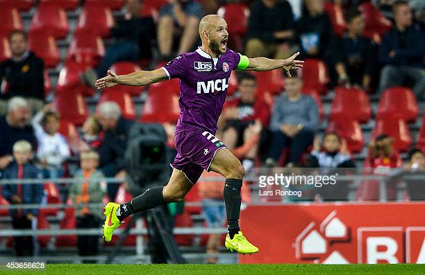 Kristian Bach Bak of FC Midtjylland celebrates after scoring their first goal during the Danish Superliga match between FC Copenhagen and FC...