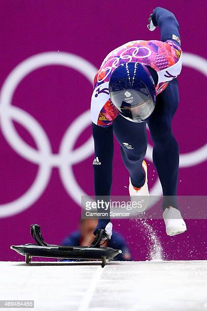 Kristian Bromley of Great Britain makes a run during the Men's Skeleton on Day 8 of the Sochi 2014 Winter Olympics at Sliding Center Sanki on...