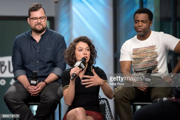 Kristian Bruun Tatiana Maslany and Kevin Hanchard visit Build Studios to discuss 'Orphan Black' at Build Studio on June 6 2017 in New York City