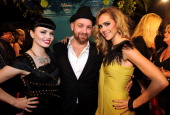 Kristian Bush of Sugarland with Susie Brown and Danelle Leverett of JaneDear Girls attend the 59th Annual BMI Country Awards on November 8 2011 in...