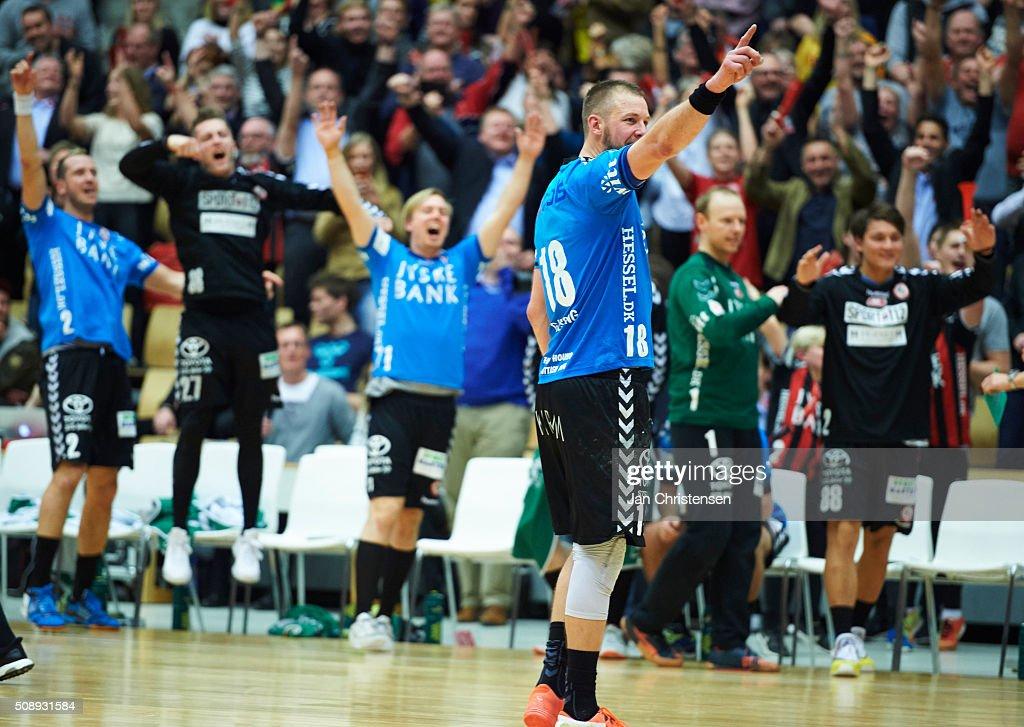 Kristian Gjessing of HC Midtjylland celebrate after the Santander Cup Final4 - Final between HC Midtjylland and GOG Handball in Sparekassen Fyn Arena on February 07, 2016 in Odense, Denmark.