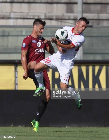 Kristian Ipsa of Reggina competes for the ball in air with Ledian Memushaj of of Carpi FC during the Serie B match between Reggina Calcio and Carpi...