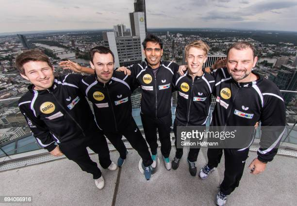 Kristian Karlsson Stefan Fegerl Sharath Kanal Achanta Anton Kaellberg and Danny Heister pose during a Borussia Duesseldorf Photocall at Maintower...