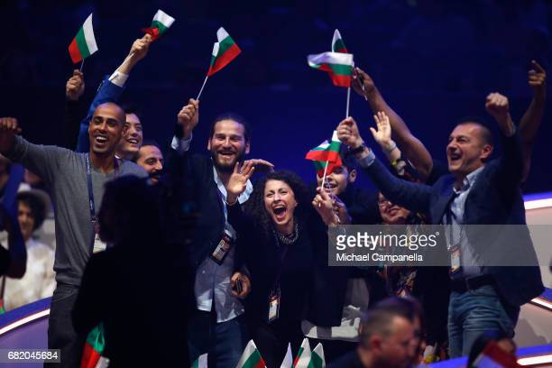 Kristian Kostov representing Bulgaria reacts to making it to the Grand Final during the second semi final of the 62nd Eurovision Song Contest at...