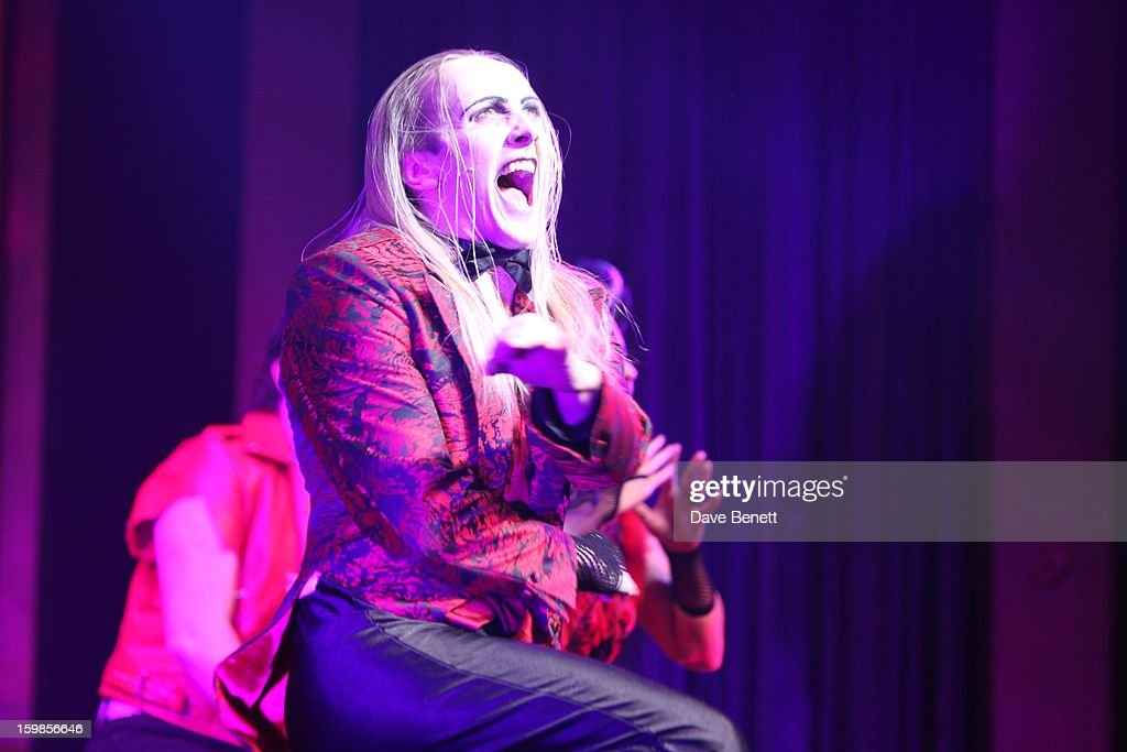 Kristian Lavercombe performs on stage during a production of Richard O'Brien's Rocky Horror Show at the New Wimbledon Theatre on January 21st, 2013 in London, United Kingdom.