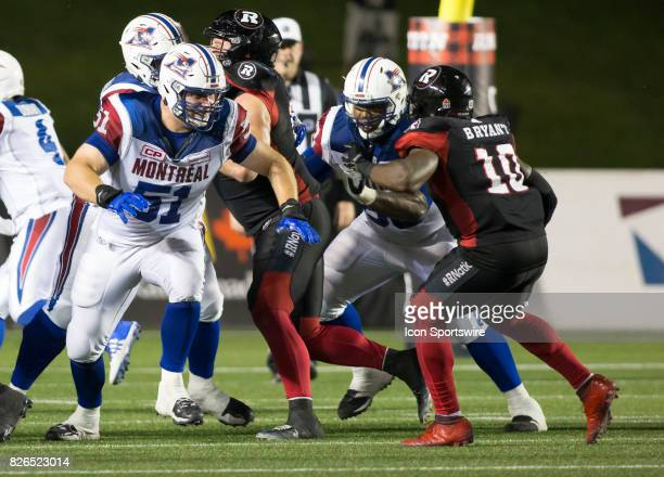 Kristian Matte of the Montreal Alouettes in Canadian Football League play on July 19 2017 at TD Place Stadium in Ottawa Canada The Ottawa Redblacks...