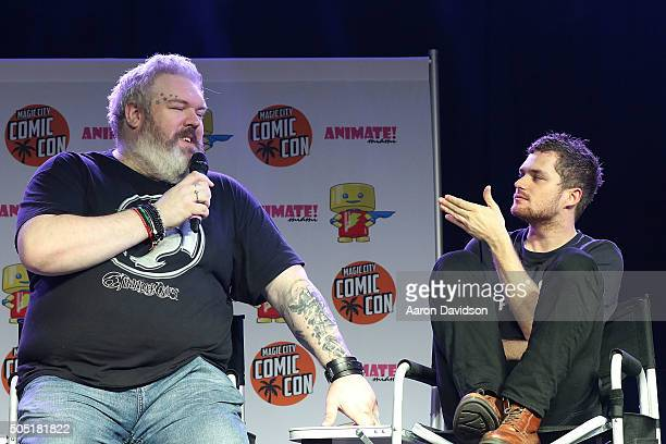 Kristian Nairn and Finn Jones attends Magic City Comic Con on January 15 2016 in Miami Florida