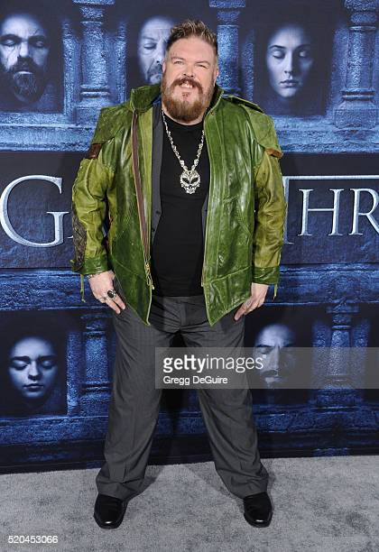 Kristian Nairn arrives at the premiere of HBO's 'Game Of Thrones' Season 6 at TCL Chinese Theatre on April 10 2016 in Hollywood California