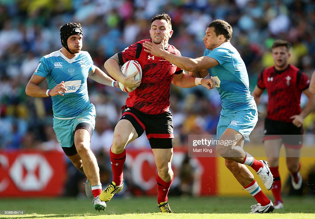 <a gi-track='captionPersonalityLinkClicked' href=/galleries/search?phrase=Kristian+Phillips&family=editorial&specificpeople=6725918 ng-click='$event.stopPropagation()'>Kristian Phillips</a> of Wales takes on the defence during the 2016 Sydney Sevens Shield Final match between Wales and Russia at Allianz Stadium on February 7, 2016 in Sydney, Australia.