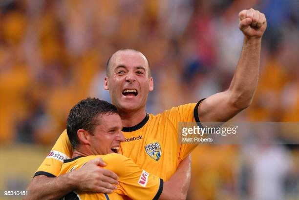 Kristian Rees of United celebrates his second goal with Jason Culina of United during the round 21 ALeague match between Gold Coast United and...