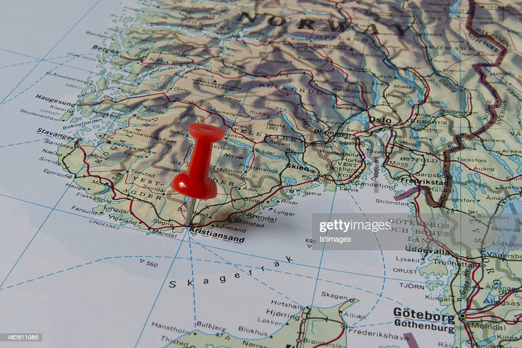 Kristiansand Marked With Red Pushpin On Norway Map Stock Photo