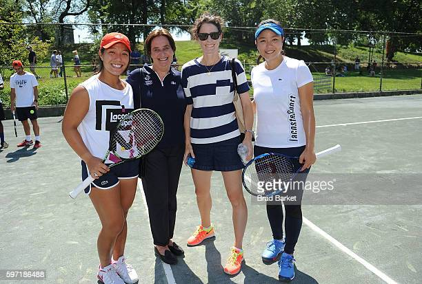 Kristie Ahn Beryl LacosteHamilton Nathalie Dechy and Latisha Chan attend LACOSTE And City Parks Foundation Host Tennis Clinic In Central Park at...