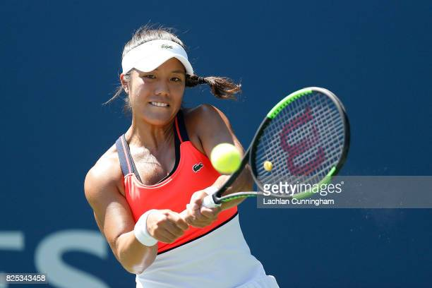 Kristie Ahn of the United States competes against Veronica Cepede Royg of Paraguay during day 2 of the Bank of the West Classic at Stanford...