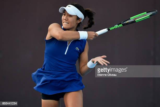Kristie Ahn of the United States hits a forehand during the Women's Singles qualification match against Sara Sorribes Tormo of Spain at the 2017...
