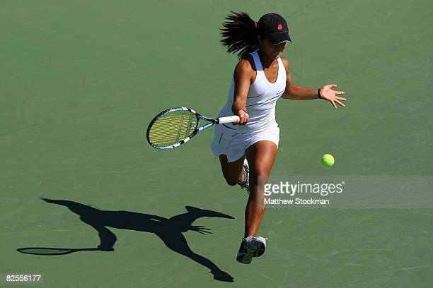 Kristie Ahn of the United States returns a forehand against Dinara Safina of Russia during Day 2 of the 2008 US Open at the USTA Billie Jean King...