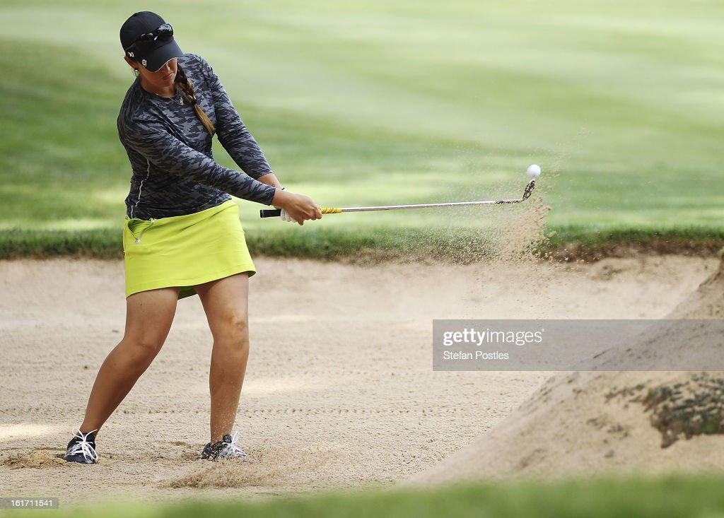 Kristie Smith of Australia hits out of a bunker during day two of the ISPS Handa Australian Open at Royal Canberra Golf Club on February 15, 2013 in Canberra, Australia.