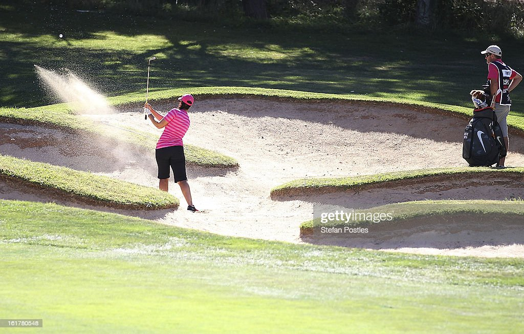 Kristie Smith of Australia hits out of a bunker on the 14th hole during day three of the ISPS Handa Australian Open at Royal Canberra Golf Club on February 16, 2013 in Canberra, Australia.