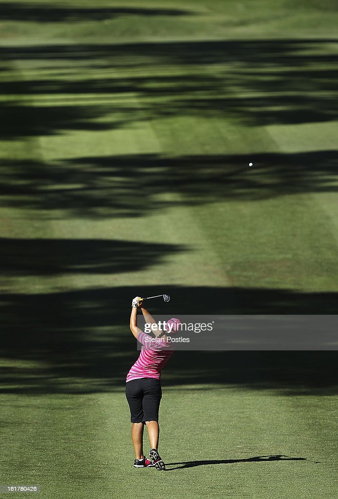 Kristie Smith of Australia hits up the 15th fairway during day three of the ISPS Handa Australian Open at Royal Canberra Golf Club on February 16, 2013 in Canberra, Australia.