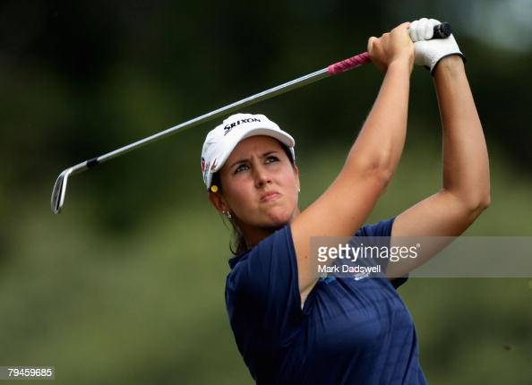 Kristie Smith of Australia plays an approach shot on the 17th hole during round two of the Women's Australian Golf Open 2008 at Kingston Heath Golf...