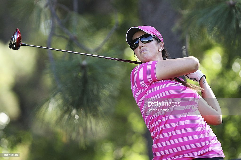 Kristie Smith of Australia tees off during day three of the ISPS Handa Australian Open at Royal Canberra Golf Club on February 16, 2013 in Canberra, Australia.