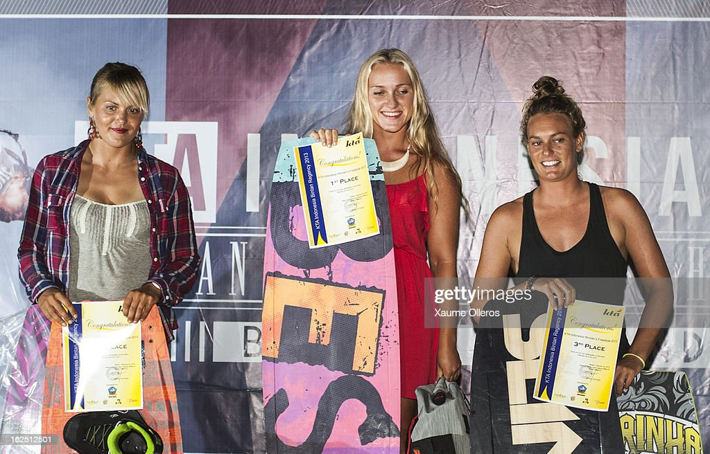 Kristiin Oja of Estonia, second classified, Victoria Solovekyna of Russia, first classified and Ali Dutfield on prize giving of the Women's freestyle competition during day five of the 1st KTA Bintan at Argo Beach Resort on February 24, 2013 in Bintan Island, Indonesia.
