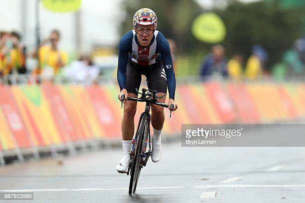 Kristin Armstrong of the United States crosses the finihs line in the Women's Individual Time Trial on Day 5 of the Rio 2016 Olympic Games at Pontal...
