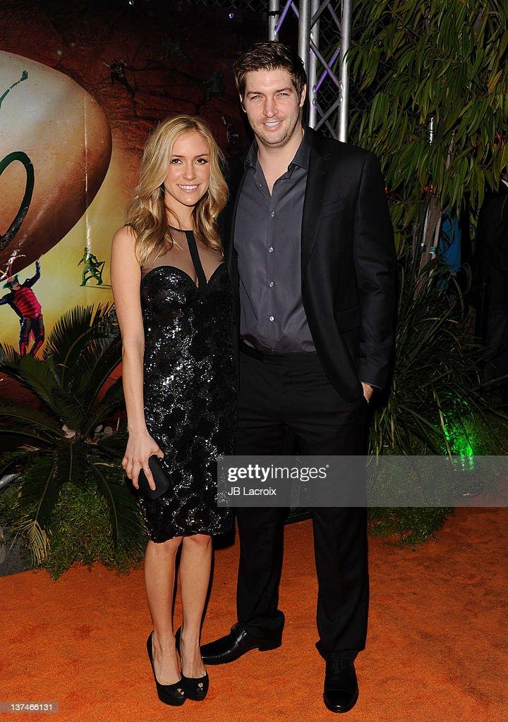 Kristin Cavallari and Jay Cutler arrive at the Cirque du Soleil 'OVO' Celebrity Opening Night Gala at Santa Monica Pier on January 20 2012 in Santa...