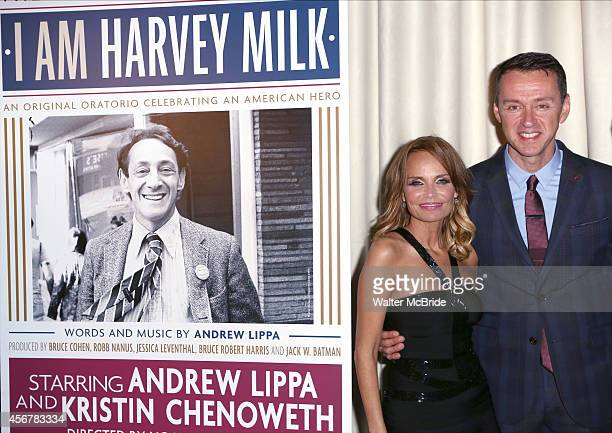 Kristin Chenoweth and Andrew Lippa attend the After Party for the OneNightOnly Benefit Concert Premiere of 'I Am Harvey Milk' at Bryant Park Grill on...
