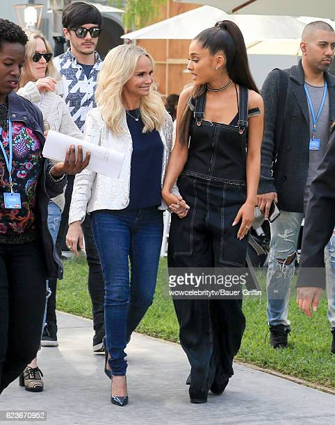 Kristin Chenoweth and Ariana Grande are seen on November 16 2016 in Los Angeles California