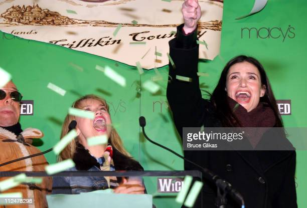 Kristin Chenoweth and Idina Menzel during Party to Celebrate the Arrival of the New Broadway Musical 'Wicked' at Macy's Herald Square in New York...