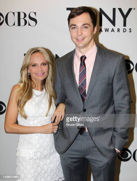 Kristin Chenoweth and Jim Parsons pose at The 2012 Tony Award Nominations at The New York Public Library for Performing Arts on May 1 2012 in New...