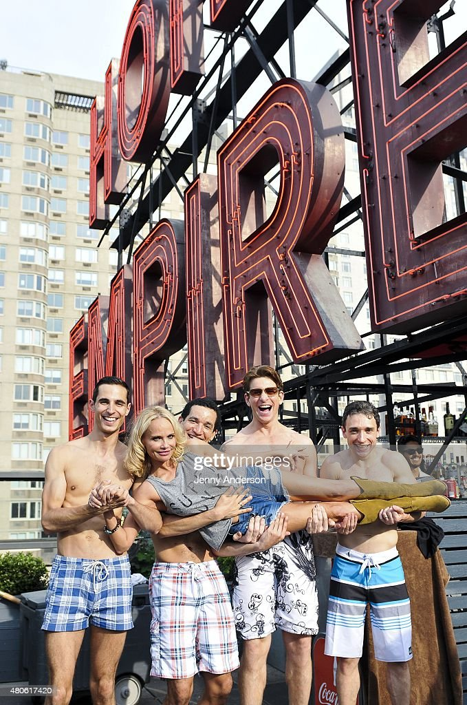 Kristin Chenoweth, Andy Karl and cast of 'On the Twentieth Century' celebrate on the pool deck of The Empire Hotel on July 12, 2015 in New York City.