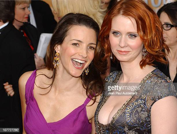 Kristin Davis and Cynthia Nixon during 10th Annual Screen Actors Guild Awards Arrivals at Shrine Auditorium in Los Angeles California United States