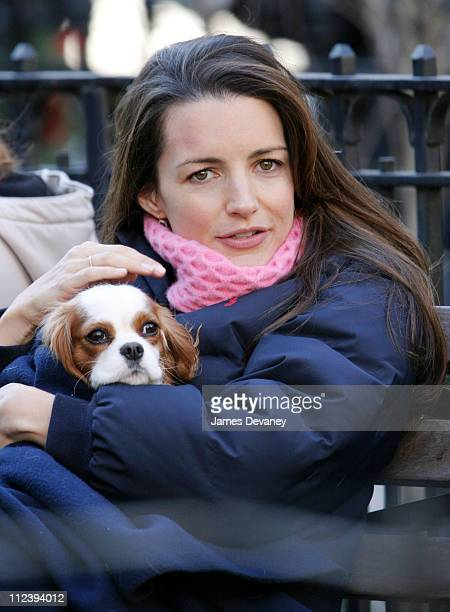 Kristin Davis during Kristin Davis on the Set of 'Sex and the City' December 12 2003 at 23rd and Broadway Dogwalk in New York City New York United...